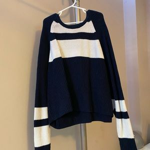 Blue and white stripped knit sweater